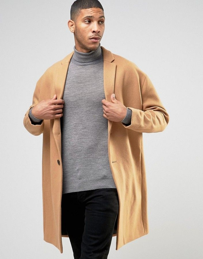 Please click on the picture to go to the detail page.  ASOS Wool Mix Overcoat with Drop Shoulder In Camel