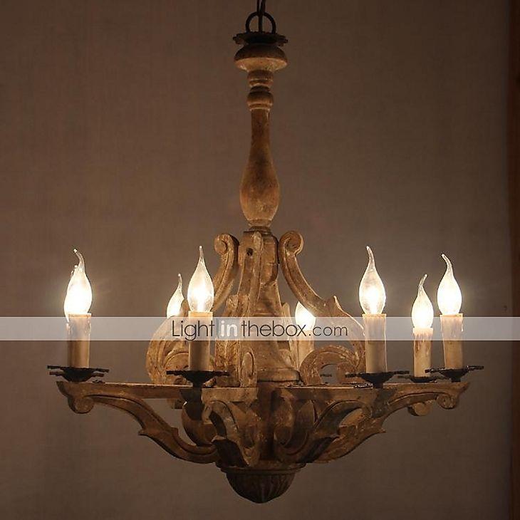 Vintage industriella trä ljuskrona lampa med gammal färg i rustik stil Belysning Ceiling