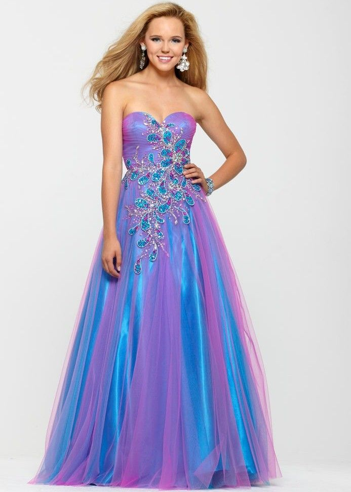 Clarisse 2160 - Blue and Purple Strapless Prom Dress with Beading ...