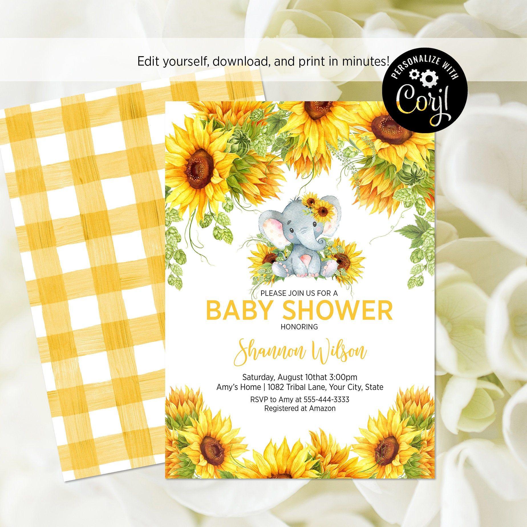 Editable Template Sunflower Baby Shower Invitation Elephant