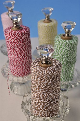 Twine Storage #diyyarnholder DIY twine holders--candle holder, dowel, glass knob, magnets and hot glue #diyyarnholder