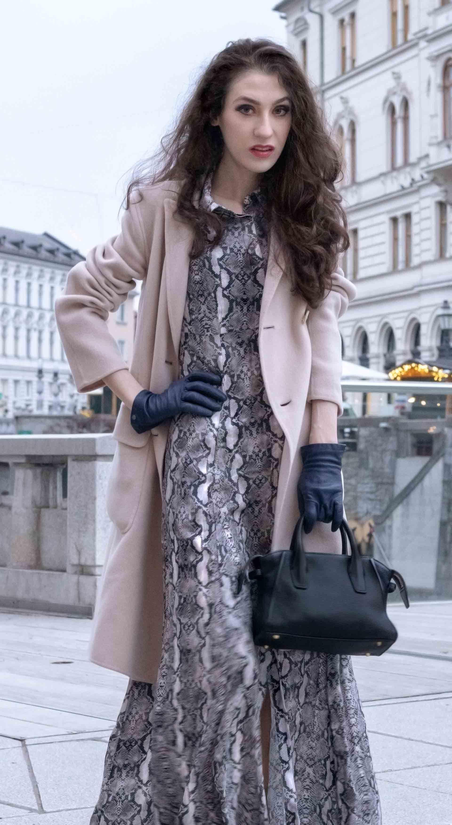 4393f49d Beautiful Slovenian Fashion Blogger Veronika Lipar of Brunette from Wall  wearing Weekend Max Mara double-breasted coat, snakeskin print long Zara  dress
