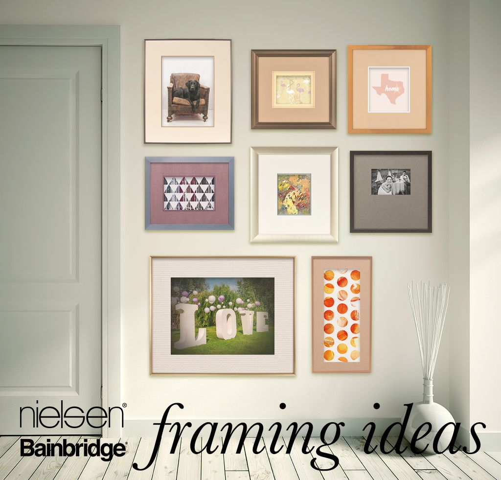 FRAMING IDEAS byNIELSENBAINBRIDGE  Matting Matters - Matting can convert metal from looking minimalist modern to timeless traditional. Soften the look with creams and fabrics. Proprietary brushed finishes will call attention to the brush and pen strokes in art.   Precious Metals - Crafted in the USA. Nielsen continues to reinvent metal, elevating its perception through design. Aluminum is an exceptional framing material because it is archival and extremely rigid.