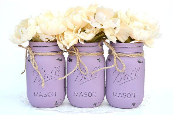 Purple glass mason jar Owl decor centerpiece