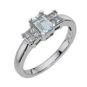 4f10f81fc7e63 Ernest Jones - 9ct white gold diamond & emerald cut aquamarine ring ...