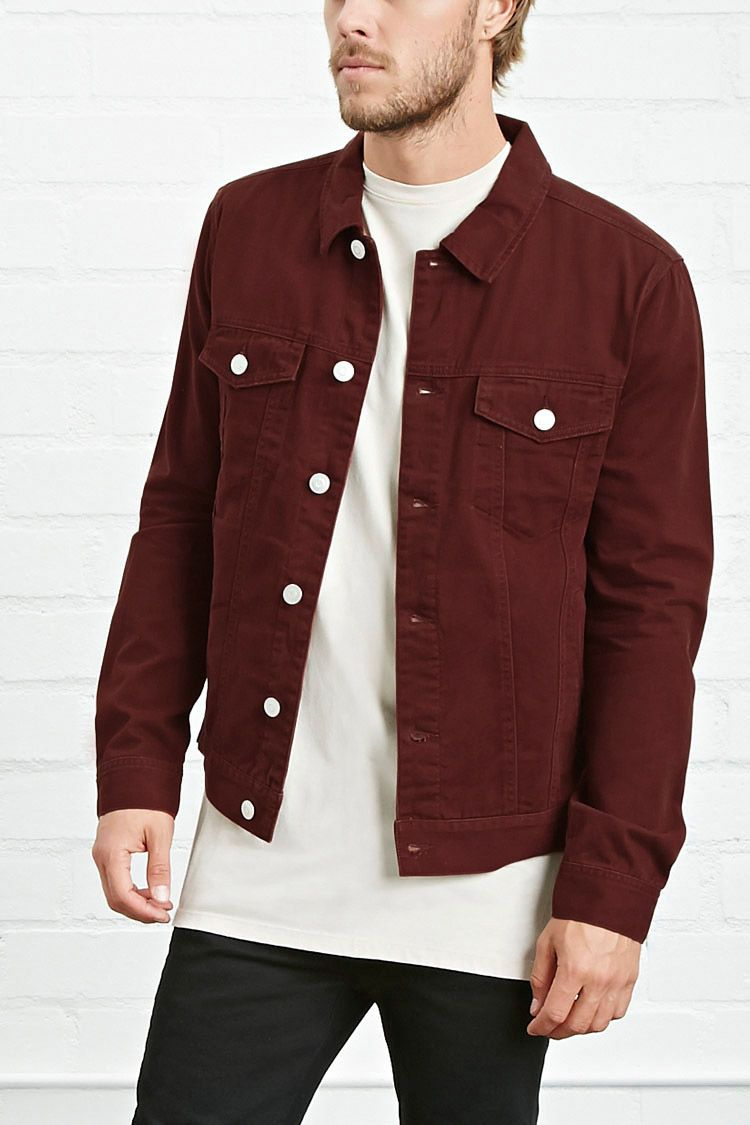 Buttoned Denim Jacket $32.90, Forever 21, Burgundy, A midweight ...
