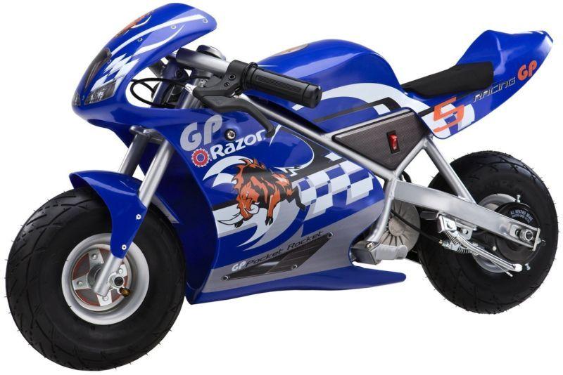 Razor 24 Volt Mini Electric Racing Motorcycle Pocket Rocket Blue