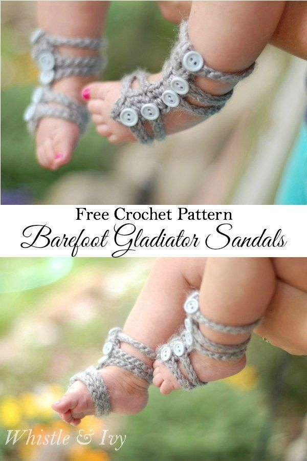 Free Pattern: Barefoot Gladiator Sandals. | Baby Stuff | Pinterest ...