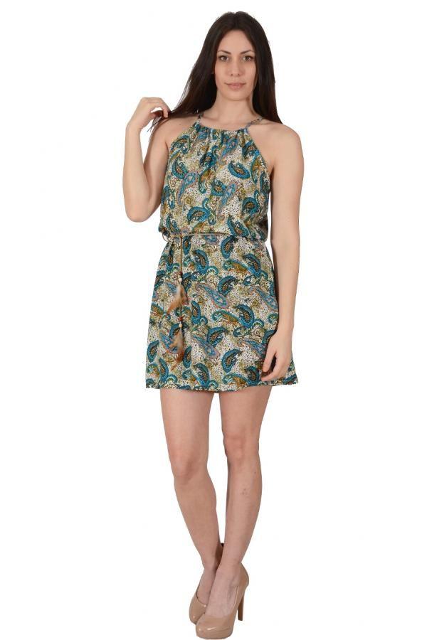 Φόρεμα εμπριμέ λαχούρ σε άνετη γραμμή κοντό με λάστιχο στην μέση και έξτρα  ζώνη 9d2f6a4cfdc