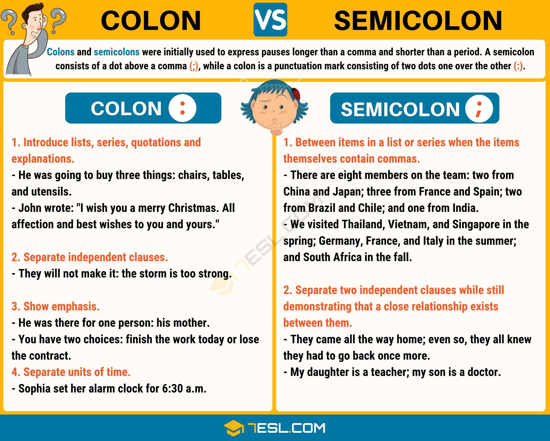 Worksheet Using Semicolons