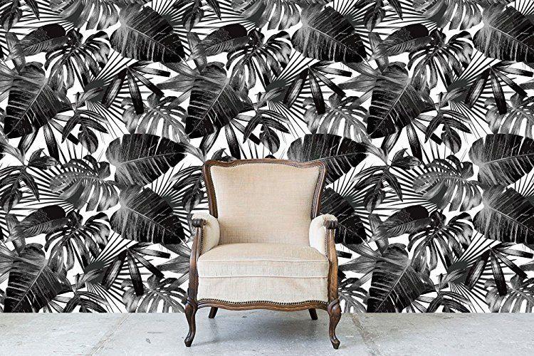 Amazon Com Black White Tropical Palm Tree Pattern Peel And Stick Wallpaper Handmade Palm Tree Pattern Peel And Stick Wallpaper Vinyl Wallpaper