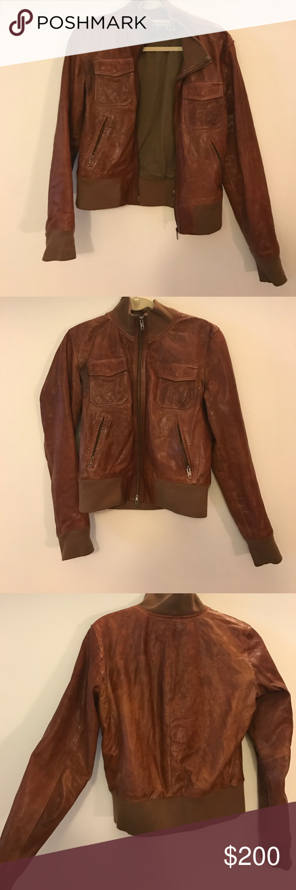 100 leather jacket! Brand closed. Size Medium! Gently