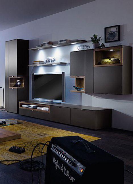 elegante Schrankwand Andiamo Matt schwarz lackiert sorgt die - schrankwand wohnzimmer modern