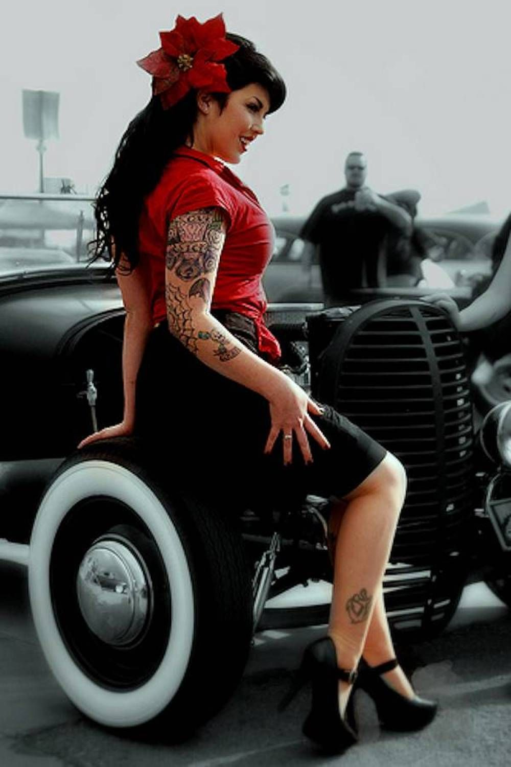 What that hot rod pin up girl on harley consider