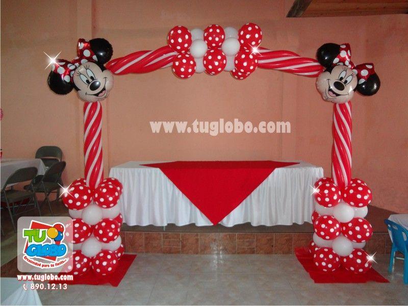 Arco de globos Minnie Rojo decoracion con globos Pinterest