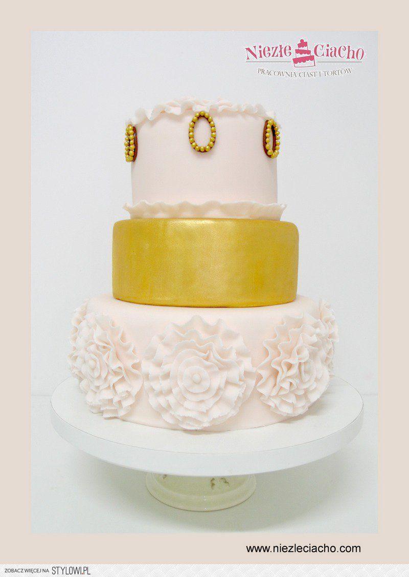 Biało Złoty Tort Weselny Piętrowy Tort Weselny Tort Na Wesele