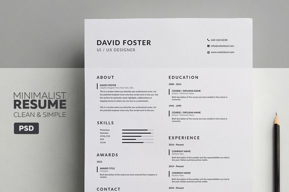 Minimalist Resume Template Minimalist Resumecv  David  Pinterest  Resume Cv And Cv Template