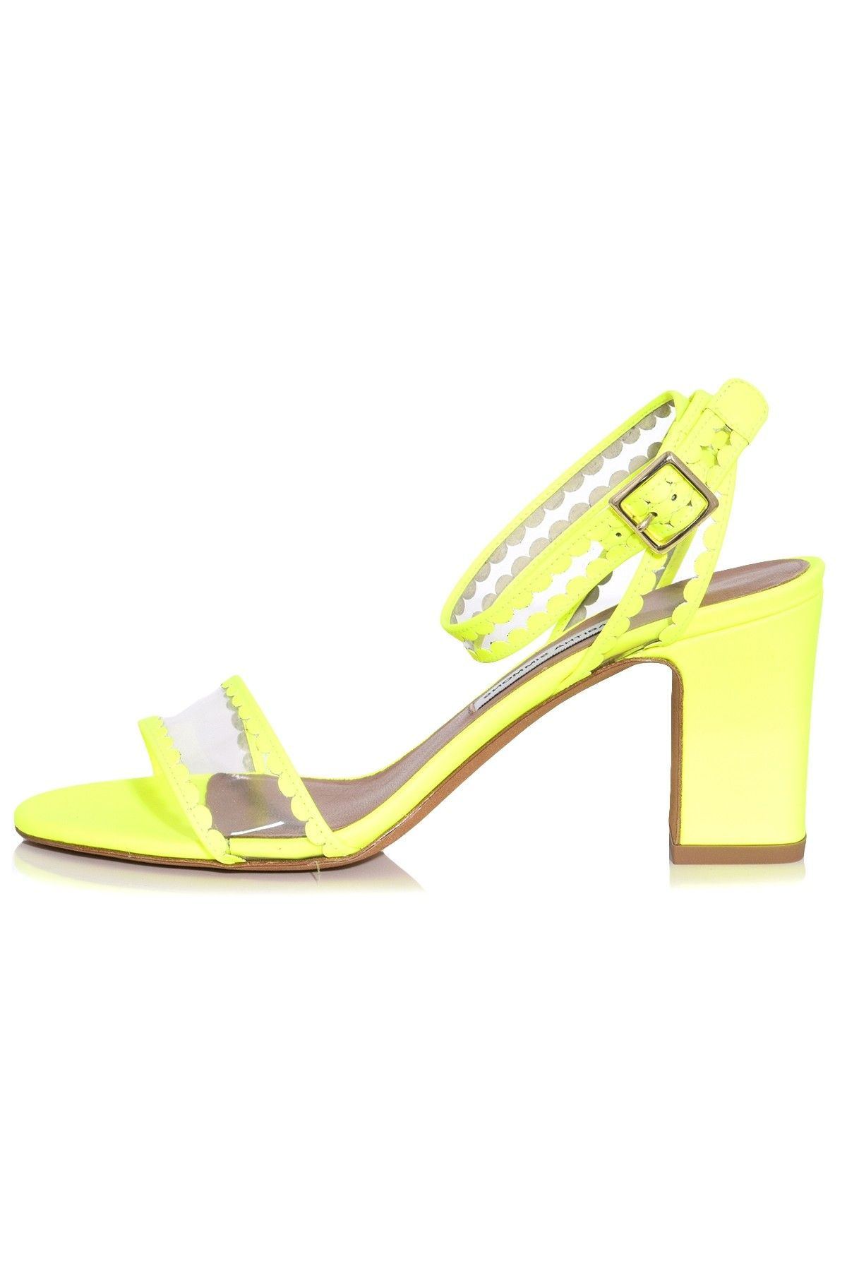 16a7f11d86a Leticia Frill Heel in Clear/Yellow Fluo in 2019 | Hampden Shoes ...
