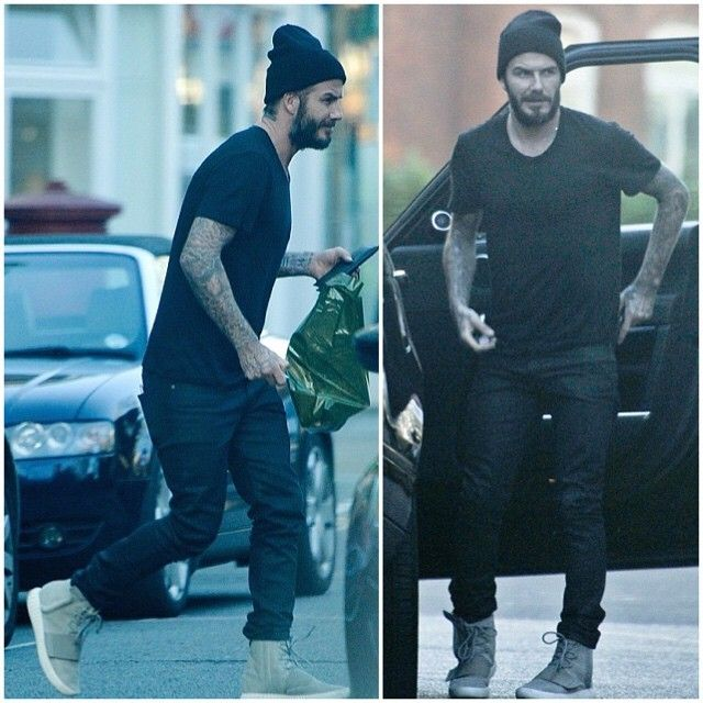 David Beckham Wears Adidas Yeezy 750 Boost Sneakers Out in London