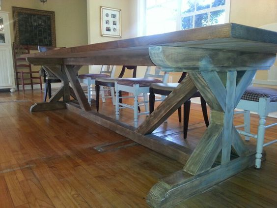 12 Ft Farmouse Table With Bracing Farm Table Dining Room Diy Farm Table Dinning Room Table Diy