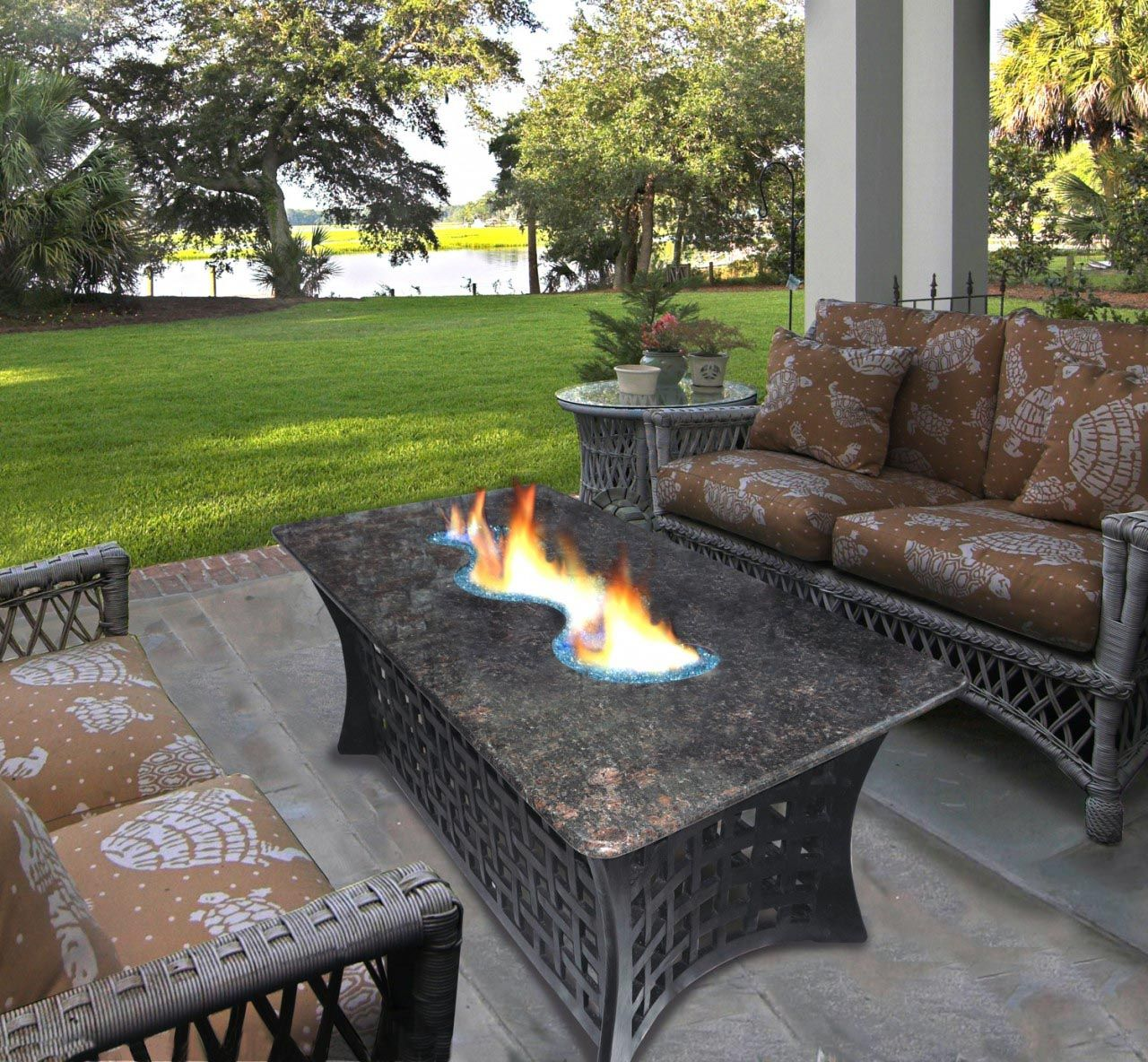 Outdoor furniture fire pit table and chairs