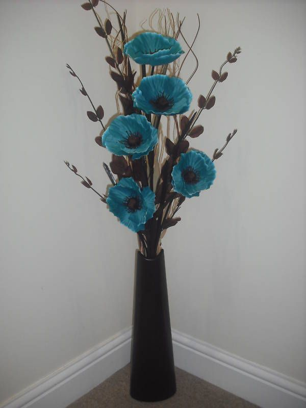 Teal silk flower arrangement black vase 1 metre tall for Floor vase with flowers
