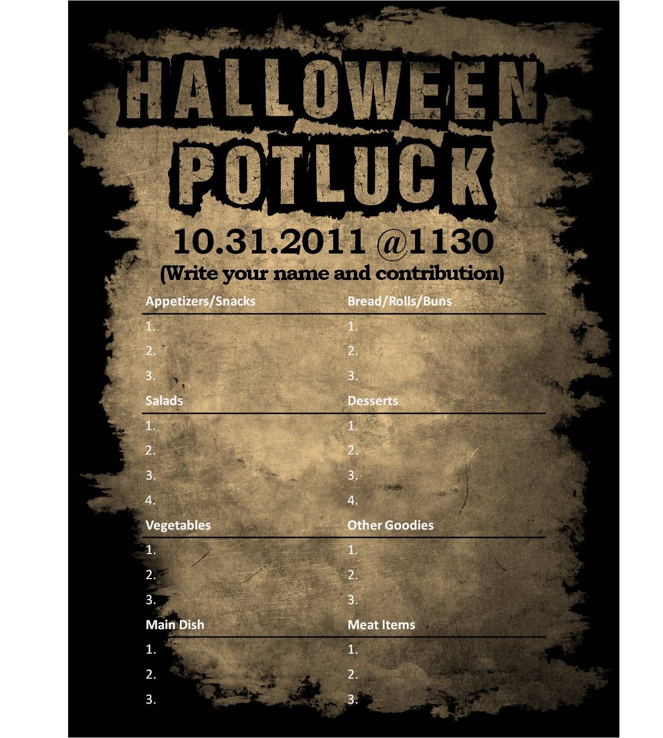 Classroom Potluck Ideas : I designed a halloween potluck sign out sheet for my