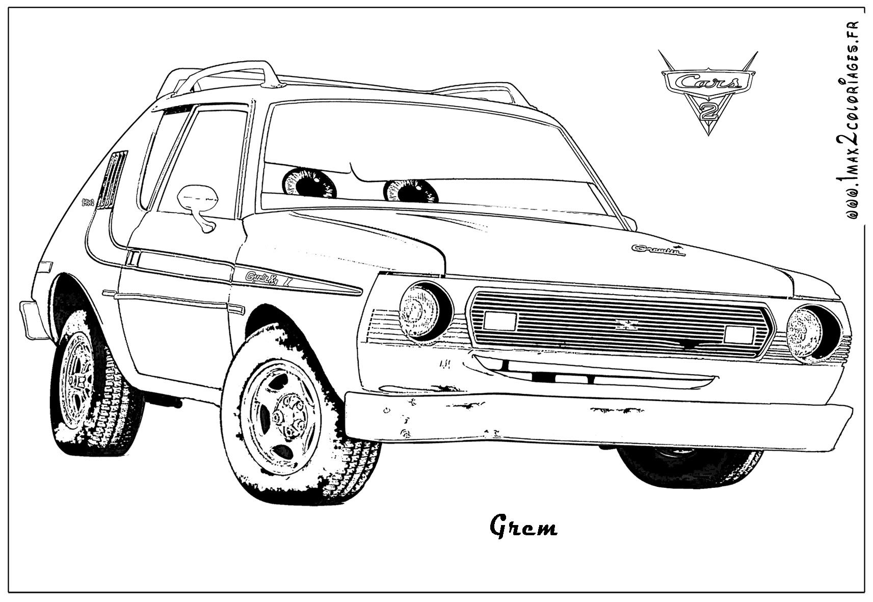 Cars printable coloring pages grem cars colouring artworks