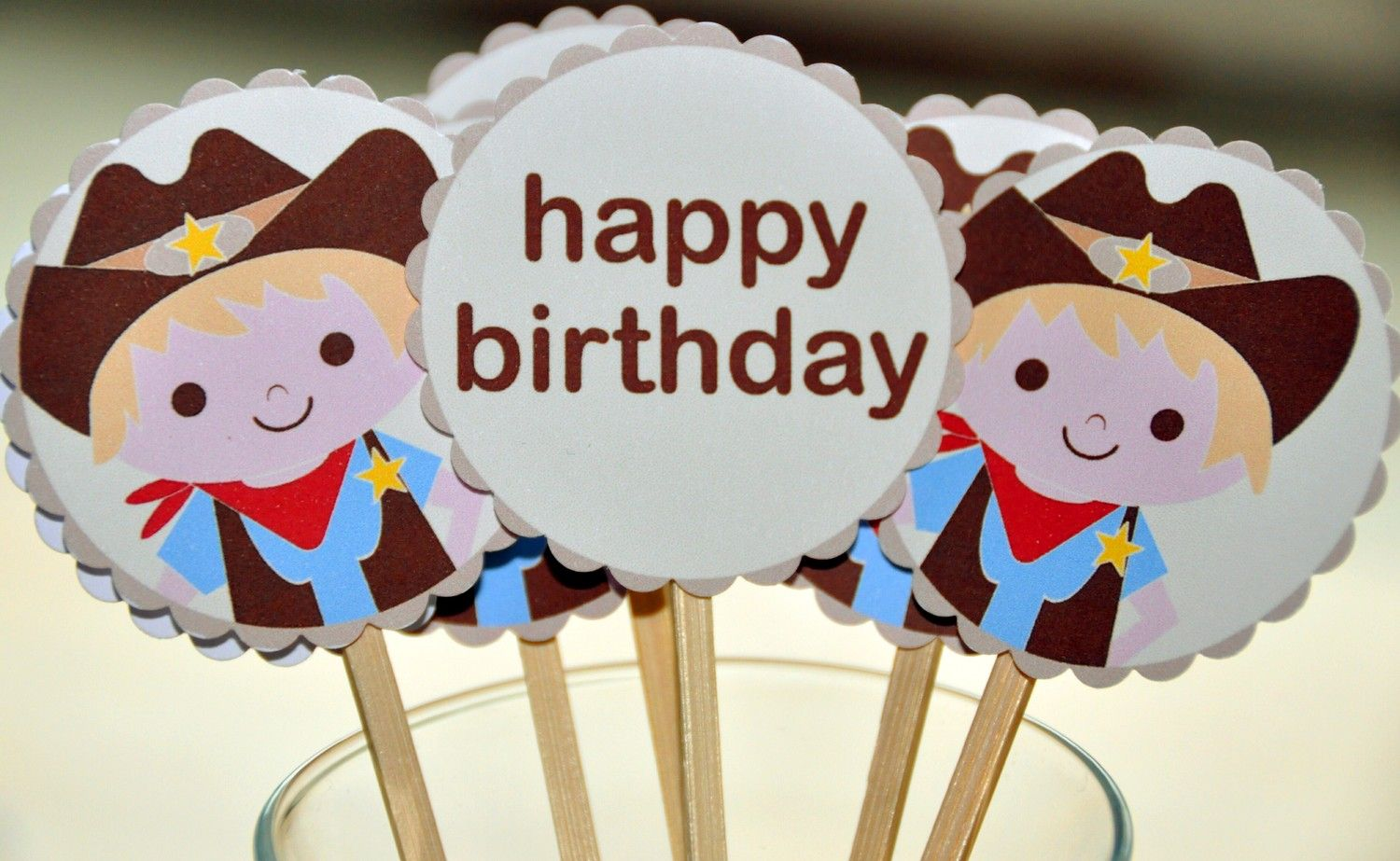 COWBOY cupcake topper or sticker or tag by nslittleshop