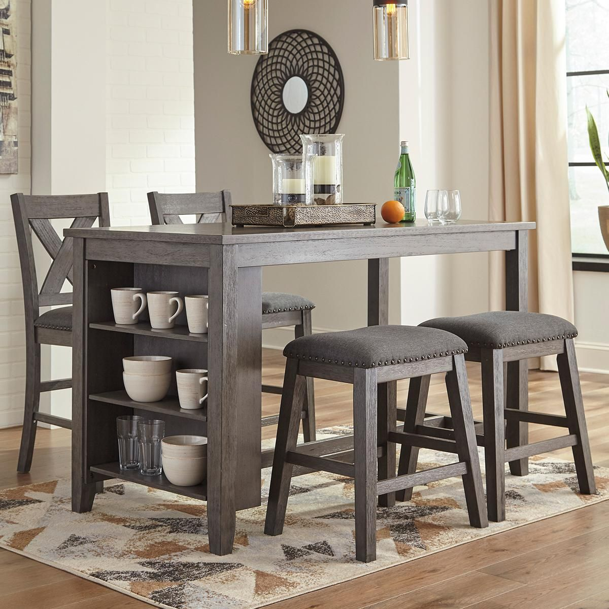 Signature Design By Ashley Caitbrook 5 Piece Counter Height Dining Set In Antiqued Gray Wash Nfm In 2021 Dining Table With Storage Dining Room Cozy Counter Height Dining Room Tables