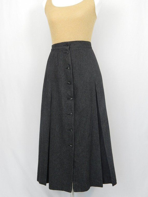 8e85010607 Vintage Gray Wool Small S Flannel Pleated Skirt Liz Claiborne 80s Eighties  Button Front Lined Preppy