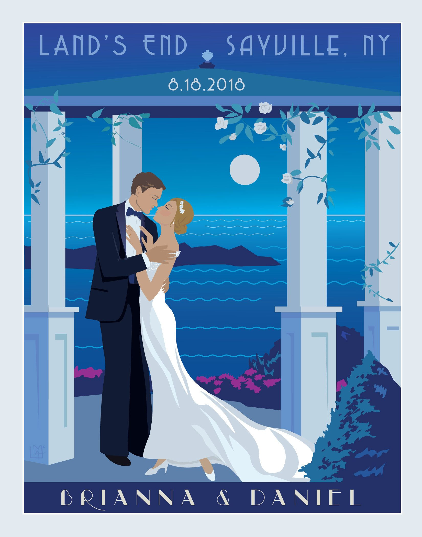 Personalized Wedding On The Beach Poster Personalized Bride And