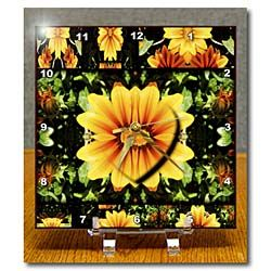 Yellow and Orange Flower cut in shape of Heart and given depth on top of flowers Desk Clock
