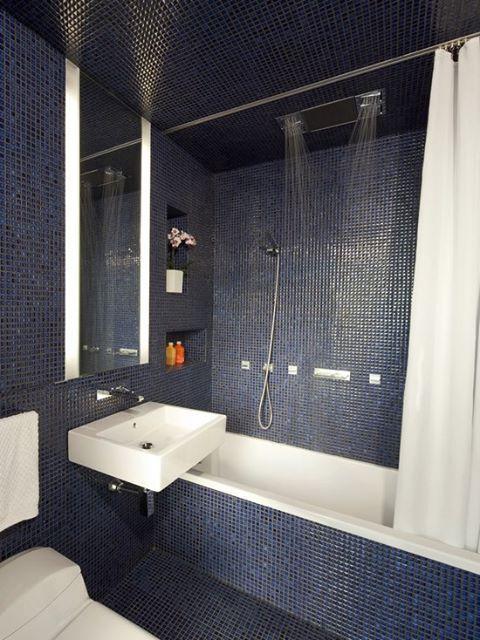 Odd Shaped Bathroom Easy Stylish Fix Dark Blue