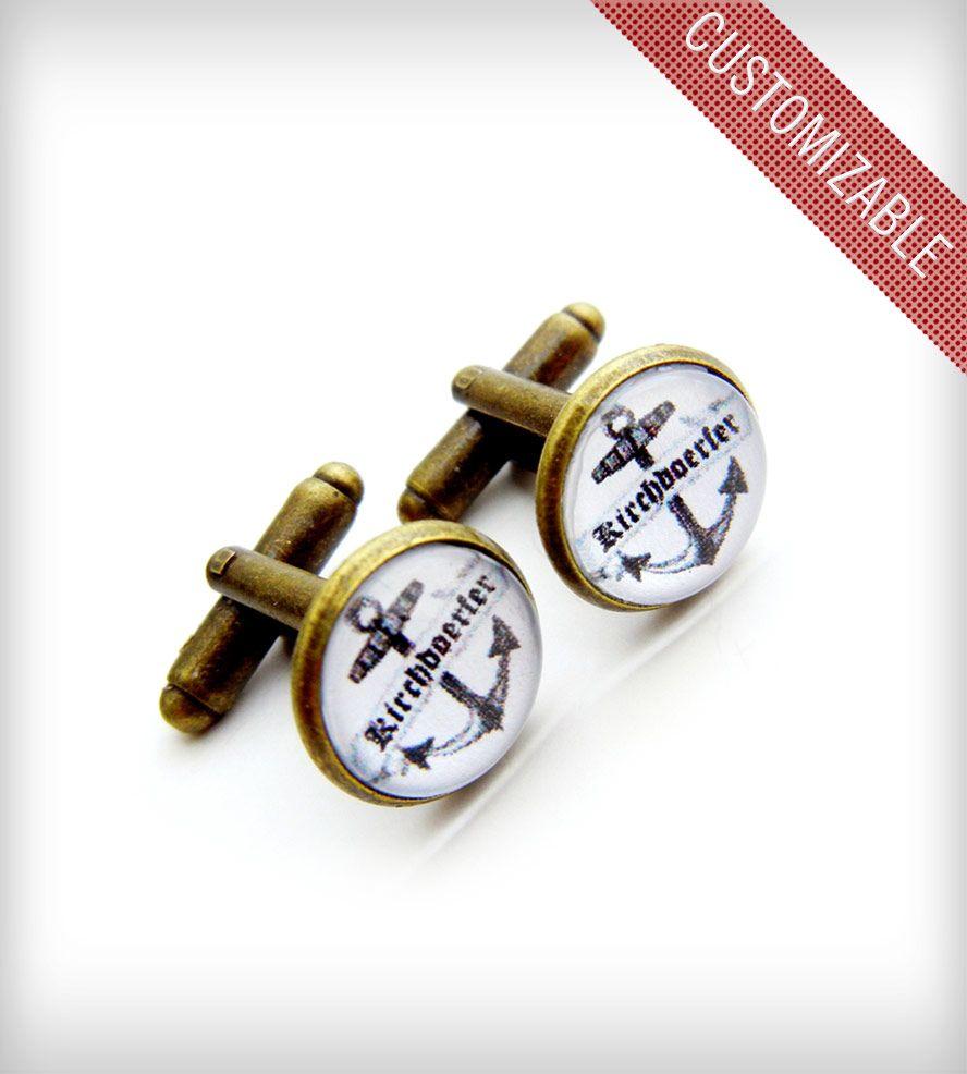 Handmade Box Anchor cufflinks Nautical wooden cufflinks engraved Initials date Anchor Jewelry 14 styles Sterling silver cufflinks American Walnut FREE Gift Messaged