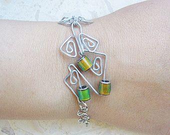 Handgemachte Metallarbeiten Stimmung Bead Armband, Armband Draht ...