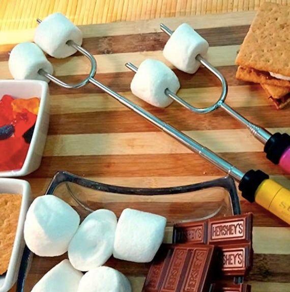 Rotating Expandable Marshmallow Roasting Sticks 6 Multicolored 34 Inch Extendable Fork Camping Kit S #smoressticks