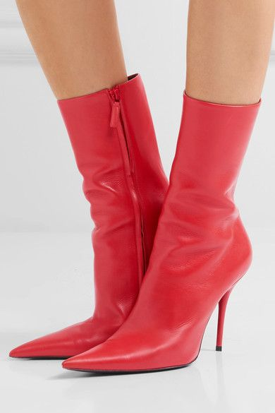 BALENCIAGA red Leather boots | Red
