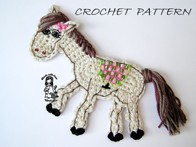 Crochet horse application - pattern. $3.90, via Etsy. | Apliques ...