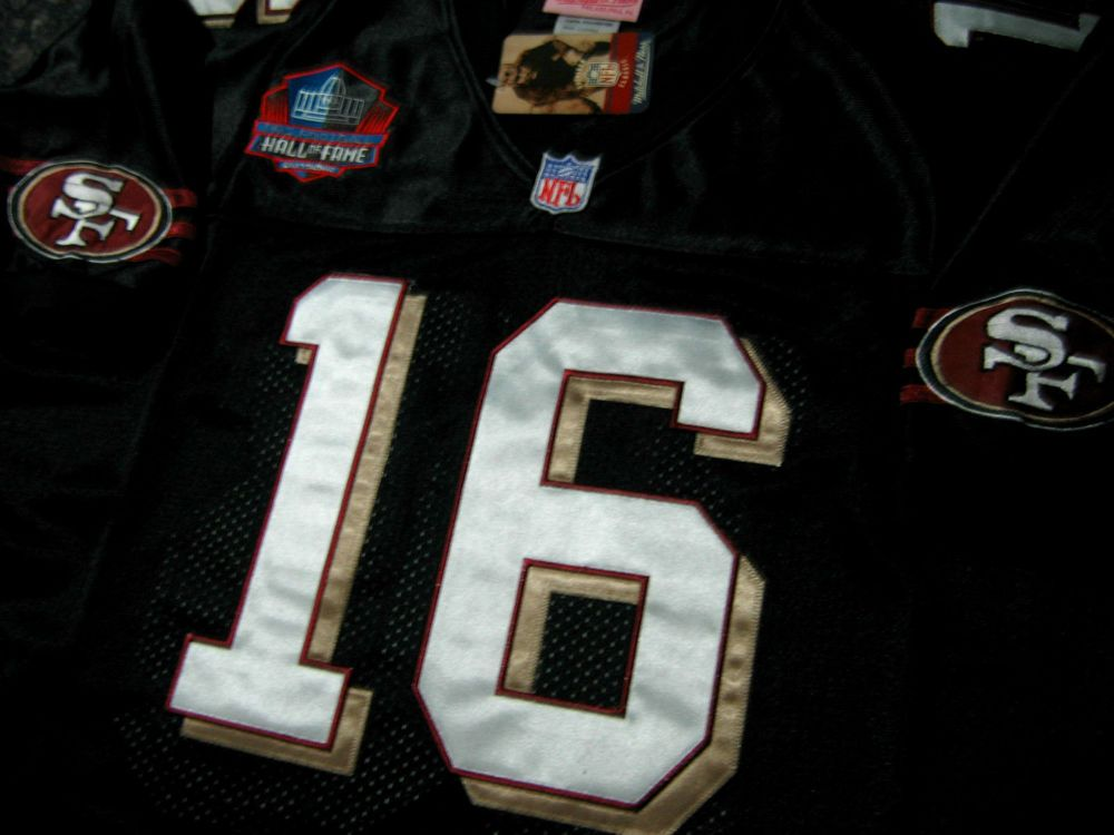 big sale 0dfea 95fef Black! San Francisco 49ers Throwback #16 Joe Montana Hof ...