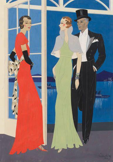 Modezeichnung: Abendroben für Damen und Herren, Modesammlung, Hartung, Gerd,  1932