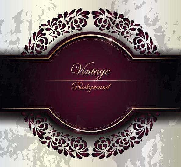 Purple vintage invitation cards cover vector templates