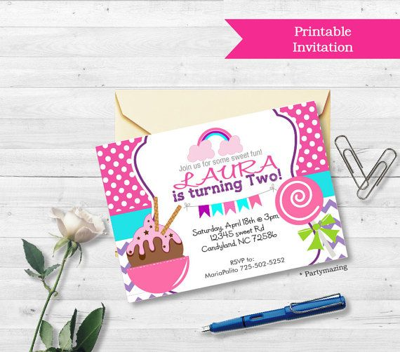 Printable Candyland Invitation Sweet Candyland party Ice Cream