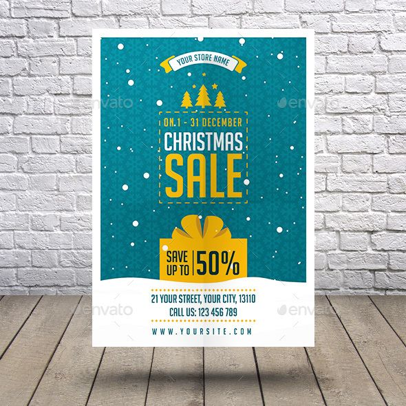 Christmas Sale Flyer Ai Illustrator Flyer Template And Template