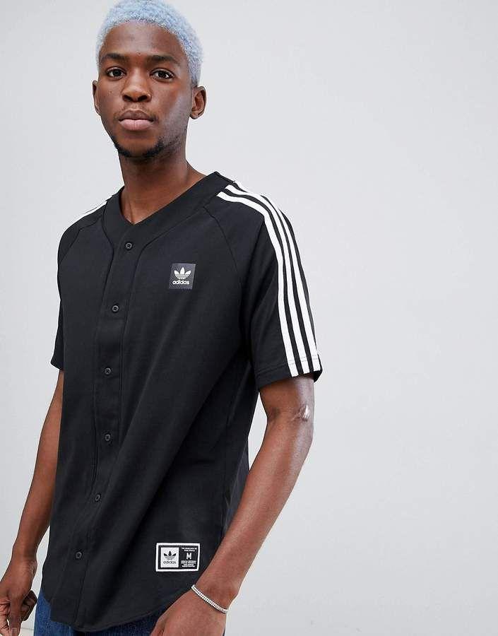 adidas Originals Men's Skateboarding Baseball Jersey Black