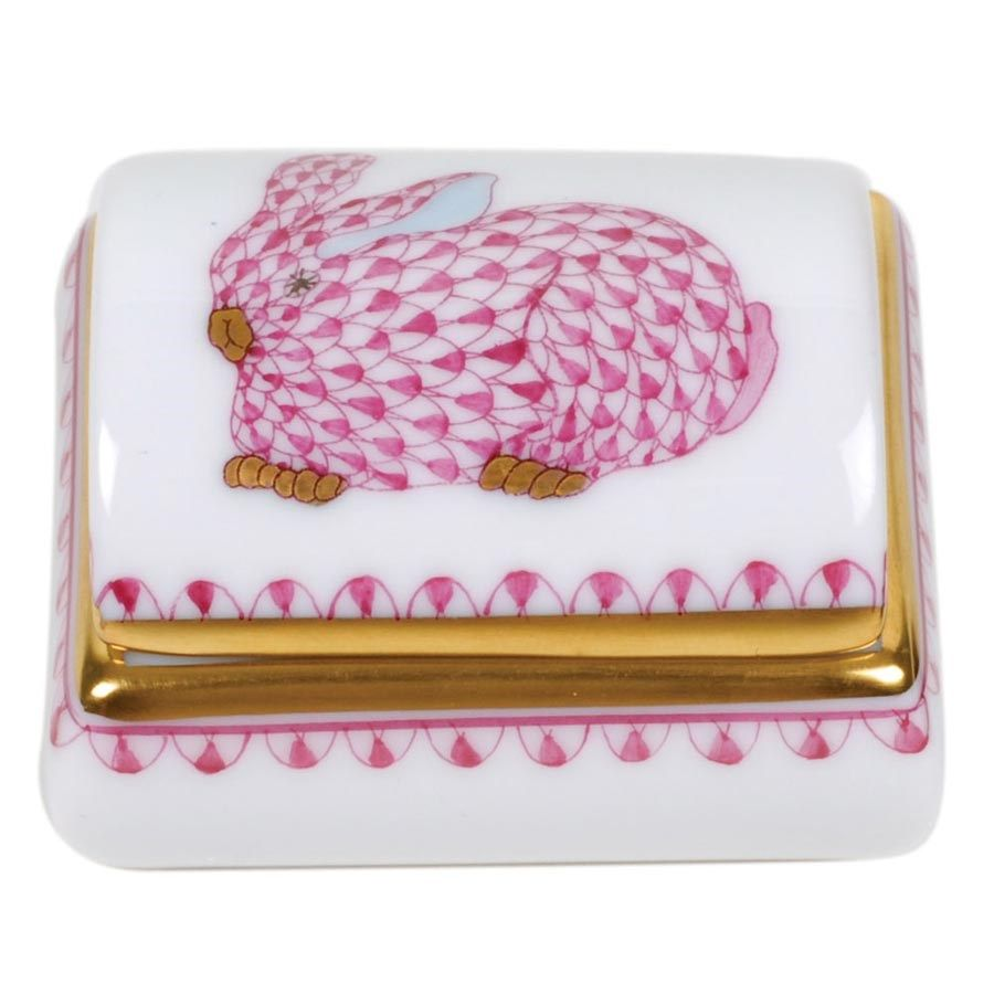 Herend Kangaroo Hand Painted Porcelain Figurine In Pink: Herend Tooth Fairy Box Pink With Bunny