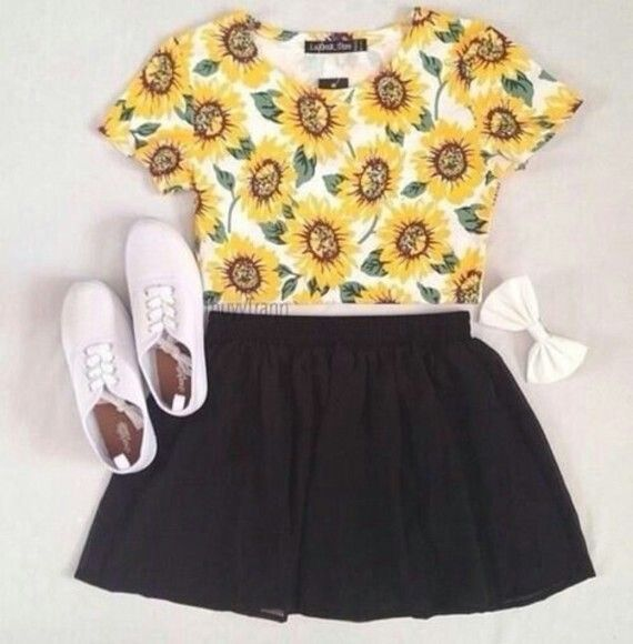 5c12753571a1 sunflower crop top black skirt | sunflower theme clothing(ideas for ...