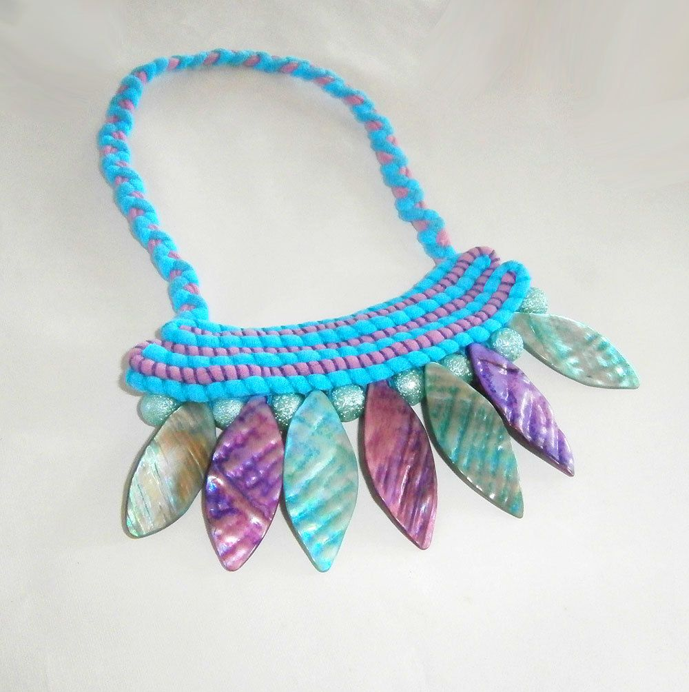 Turquoise and Purple, Bohemian Necklace, Tribal Necklace, Mother of Pearl, Unusual Jewelry, Big Bold Chunky, Bib Style Necklace, Statement by FabricTwist on Etsy