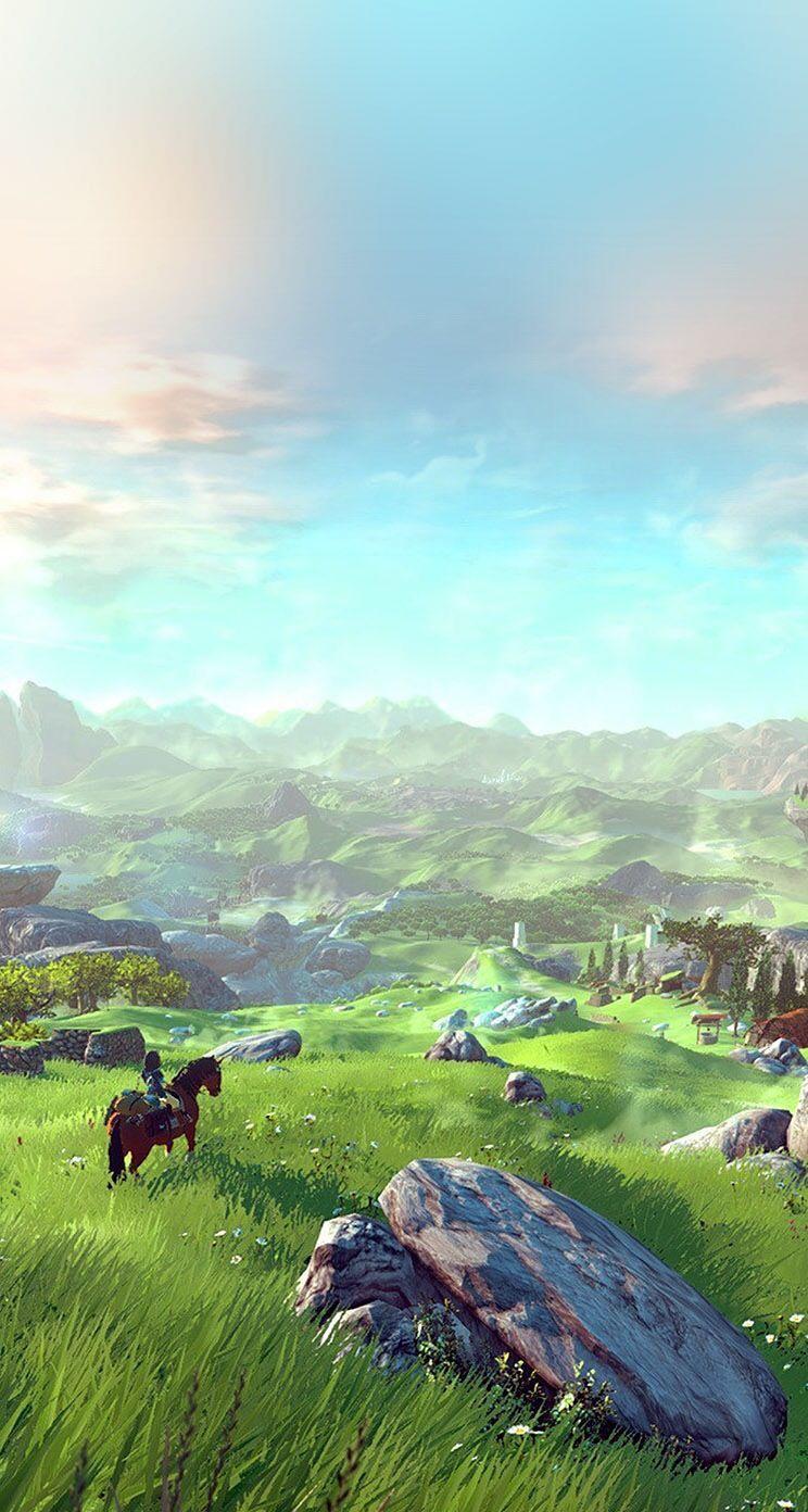 Wallpaper Zelda Breath Of The Wild Paisaje De Fantasía Ilustración De Paisaje Fondos De Pantalla Juegos