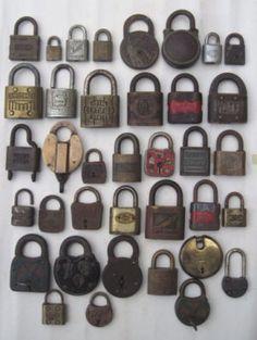 Large Group Lot Of Early Vintage Brass Metal Locks Padlocks Estate Fresh Vintage Keys Vintage Brass Padlock